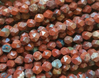 "Natural Red Jasper Faceted Polygon Beads, 5~6mm  - 14.6"" Strand"
