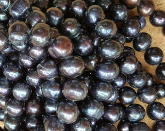 """Freshwater Pearl Beads, Grade A, Round 10~12mm Semi-round Pearl Beads, Prussian Blue- 14.5"""" Strand"""