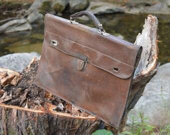 Heavy Distressed school bag - Student bag - Lawyer bag - Messenger bag - Back to school - Leather bag - College bag - Book bag - Teacher bag