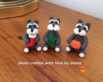 3 Hand Crafted Mini Miniature Polymer Clay Holiday Schnauzer Figurines Christmas Halloween Saint Patrick's Day
