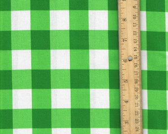 Kelly Green Gingham Fabric, Green cotton fabric, plaid sewing fabric,  green fabric, quilting fabric