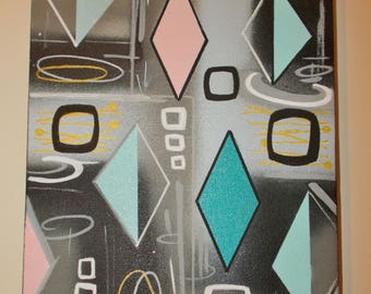 Mid Century Modern 'Wide Diamonds' Pink Turquoise Original Painting