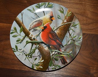 Vintage Decorative Plate with Cardinals Birds
