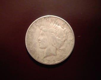 1923 S - Silver Peace Dollar - Good condition