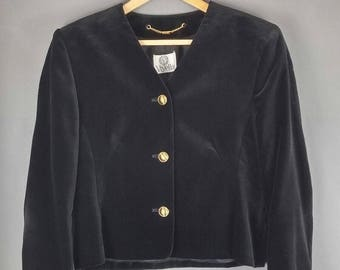 Vintage 80s 90s Viyella Black Velvet Collarless Jacket Gold Buttons 10 12