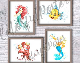 Ariel art print Little Mermaid set of 4 Flounder Sebastian illustrations Disney watercolor poster Disney wall decor Nursery room decor V205