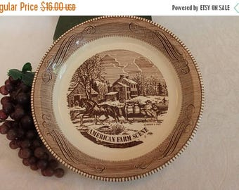 "SALE Brown Currier & Ives 10"" Pie Plate by Royal China Jeannette - American Farm Scene in Excellent Condition"