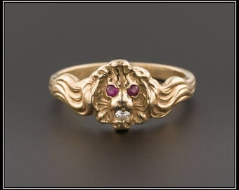 Antique Lion Ring   14k Gold Lion Ring   Antique Art Nouveau Lion Ring   14k Gold Ring   Art Nouveau Ring   Antique Ring
