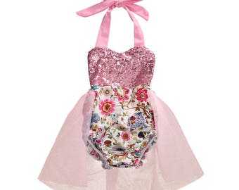 Baby Girls Floral Romper with Sequins