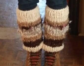 Leg Warmers - MADE TO ORDER - Handspun - Handknitted - Handdyed - Local Wool - One of a Kind - Art Yarn - Boho - Rustic - Custom Made
