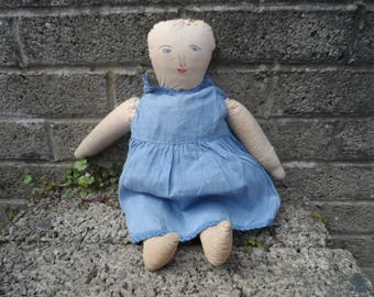 Old rag doll - primitive stuffed doll - Kids room decor - early to mid 20th century vintage blue dress doll - childs doll vintage rag