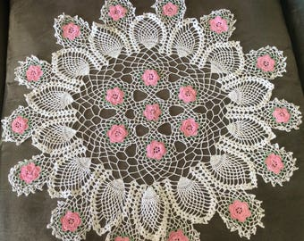 """Crochet Doiley with Pink Flowers, 22"""" Dia approx."""