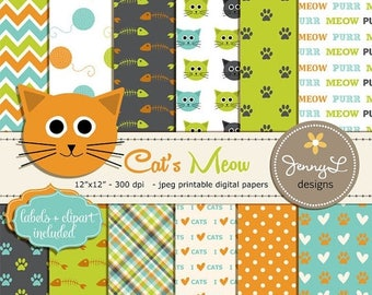 50% OFF Cat Digital papers, Pet Digital Paper, Cat head Clipart, Kitten,Yarn, Paws Scrapbooking Papers, Fishbone, Animal Digital Papers,