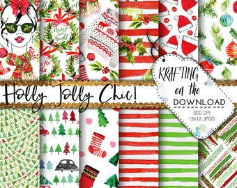 watercolor christmas paper pack christmas planner girl paper pack watercolor holidays paper pack planner girl paper pack watercolor santa