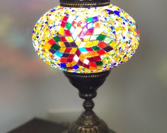 Handmade stained glass mosaic table lamp new--- real artwork SALE*****SALE*******SALE*********