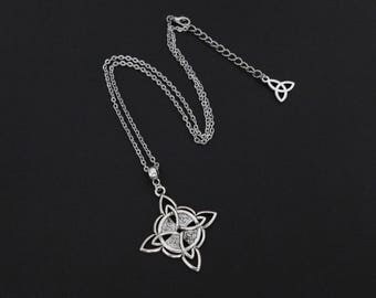 Silver Celtic Knot Triquetra Cross Wicca Pagan Pendant Necklace