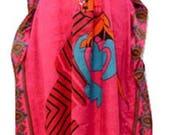 Plus Size Summer Paisley African Lady Print Drawstring Batwing Sleeve Kaftan Pink