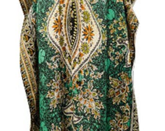 Plus Size Abstract Paisley Floral Summer Detail Drawstring Batwing Sleeve Kaftan Green