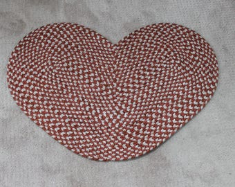 Perfect Maroon / Red And White Braided Heart Shaped Rug