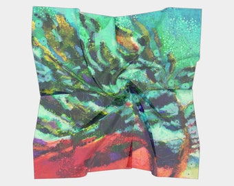 Pine Tree Branches Art/Nature Tree Art painting Green Red Blue Branches Silky Scarf Elegant Scarves Wearable Art Painted Scarf CBull Gift