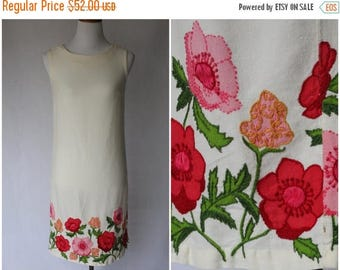 ON SALE 1960s Dress | 1960s Floral Dress | 1960s Ivory Dress | 1960s Shift Dress | Hand embroidered dress | Spring Dress