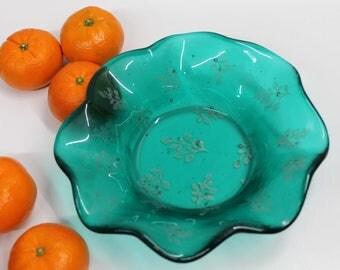 Teal mica leaf print fused glass bowl, fused glass bowl, OOAK fused glass bowl