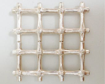French Vintage Faux Bamboo Extensible Trivet - Silver Plated