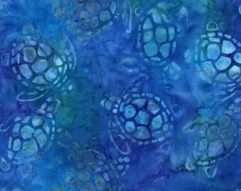 Sea Turtles in Turquoise Blue, Batik from Michael Miller