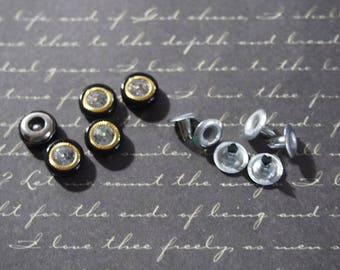 5 sets of eyelets black, gold and rhinestones to customize 10x5mm