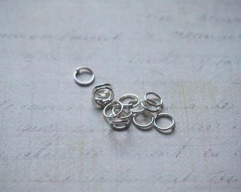 25 simple rings in silver plated 7mm