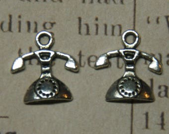3 antique silver-plated 16x15mm phone charms