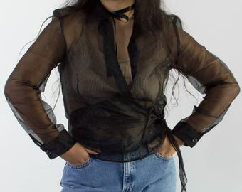 90s Black Organza Wrap Blouse / Sheer Long Sleeve Shirt / Medium-Large