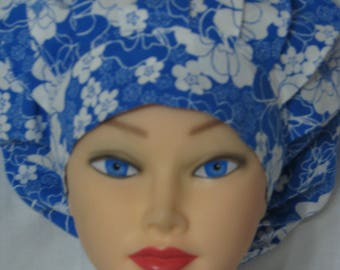 Bouffant Style Scrub Hat - Blue with White Flowers