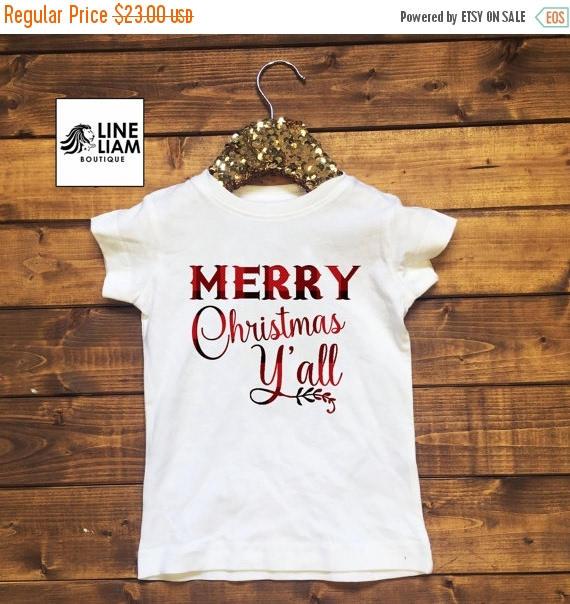 on sale merry christmas yall boys christmas shirt girls christmas shirt holiday shirts - Girls Christmas Shirts