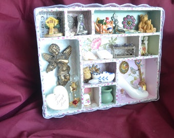 Shabby chic style vintage shadow or memory box, hand crafted