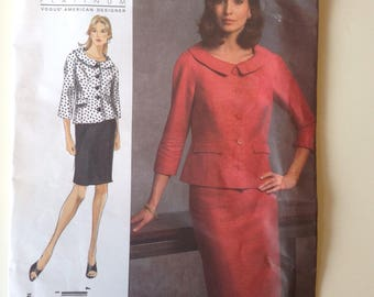 Vogue UNCUT American Designer Sewing Pattern V1037 / Badgley Mischka / Misses' Jacket and Skirt / sizes 6, 8, 10, 12