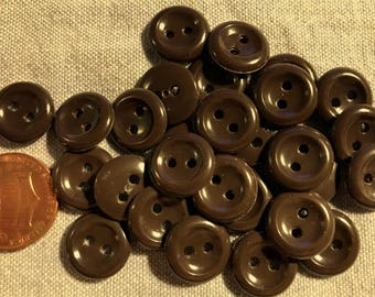 """24 Small Shiny Brown Plastic Buttons Concave Front 1/2"""" 13mm # 8249"""