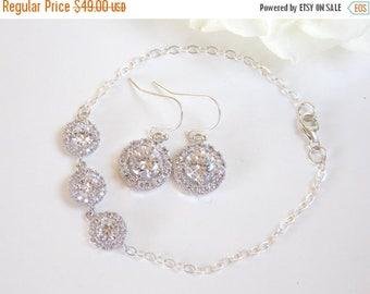 SALE Wedding Jewelry, Sterling Silver, Cubic Zirconia, Bridal Jewelry, Bridal Earrings and Bracelet Set, Bride Earrings,Dangle, Bracelet Set