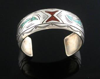 Navajo Chip Inlay Bracelet by J. Nezzie