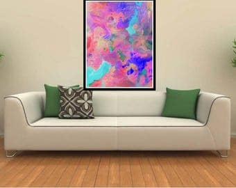 Dancing Colors -  original abstract acrylic painting print, living room wall decor, abstract acrylic original art modern abstract canvas art