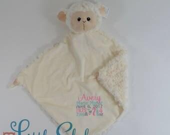 Personalized Lamb, Birth Stats Lovey, Lamb Lovey, Lovey Blanket, Security Blanket, Personalized Lovey, Personalized Security Blanket