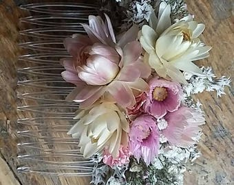 Beautiful NATURAL Bespoke PINK Floral Comb.  Dried Flowers, Wedding Hair Piece, Bride, Bridesmaid, Flowergirl, Flower Clips Accessory
