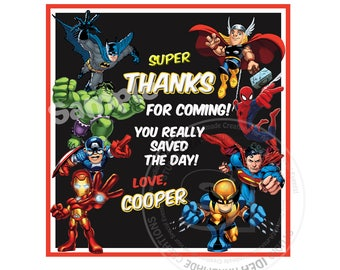 """Superheroes Personalized Thank you Printable Square Tags- 2.5"""" Printable Tags- Custom  DIY Tags- YOU PRINT-Digital file"""