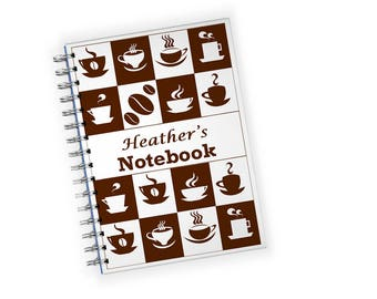 Personalized Coffee Cups 4 x 6  Notebook Journal - Great for shopping lists, note taking, writing down recipes, to do lists, travel notes