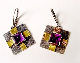 Amethyst Sterling and 18k Gold Earrings Square Shape Textured on Sterling Lever Backs