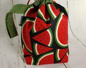 Watermelon Drawstring Knitting Project Bag, Small Drawstring Bag, Knitting Drawstring Bag DSS0027