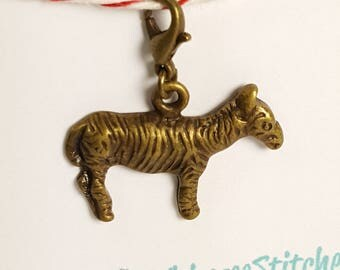 Zebra (bronze) Progress Keeper Marker Stitch Marker with lobster clasp PK0021