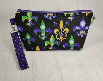 Fleur de Lis Knitting Project Bag -purple green gold Zippered Wedge Bag, Zipper Knitting Bag, Cosmetic Bag, Sock Knitting Bag WS0070