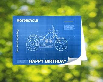 Motorcycle Birthday Card: Printable - Bike - Motorbike - Blueprint Card - Happy Birthday - Bike Card - First Bike Card - Bike Birthday Card