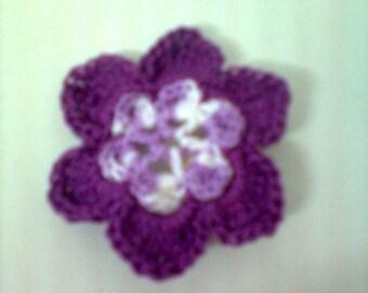 set of 10 crochet flowers handmade crochet multicolor purple cotton